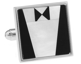 Tuxedo Cuff Links Silver Mother of Pearl Cufflinks Wedding Great for Groom Father of the Bride Wedding Marriage Anniversary with Gift Box