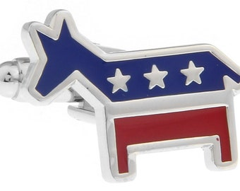 Democrat Cufflinks Political Party Cufflinks Career Collection Democrats Donkey Mens Executive Democratic Cuff Links