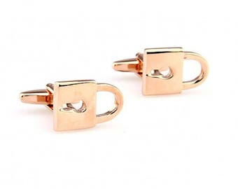 Gold Lock to My Heart Cufflinks Cuff Links Great for Weddings Initials for Groom Father of the Bride Marriage Best Man