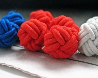 Patriotic Silk Knot Cufflinks Brave White Couragous Red Boonie Blue Bound Cuff Links