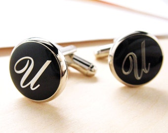 U Initial Cufflinks Silver Toned Round Black Enamel Script Letters Fancy Script Cuff Links Groom Father Bride Wedding Father's Day Gift Box