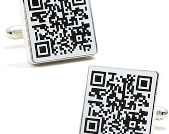 QR Code Cufflinks Active Technical Computer Black Enamel with Silver Tone Cuff Links But it Quick Unique