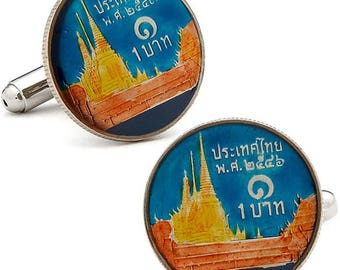 Enamel Cufflinks Thailand Coin Blue Enamel Base Enamel Coin Jewelry Cuff Links Keepsake Very Cool Unique World Traveler Comes with Gift Box
