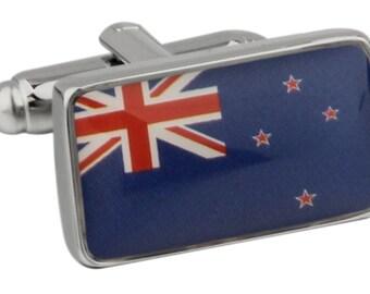 Men's Executive Cufflinks Shiny Silver New Zealand Flag Southern Cross Flag Cuff Links