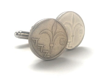 Cufflinks Israel Circulated Coin Jewelry Authentic Currency  Cuff Links Keepsake Very Cool Unique World with Gift Box