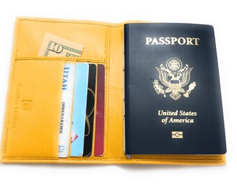 Leather Passport Wallet, Yellow with Credit Card Holders and Pockets RFID Blocking