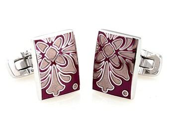 Burgundy Sage Cufflinks Santa Clara Enamel Bloom Tile Whale Tail Post Cufflinks Cuff Links Classic Style Dress