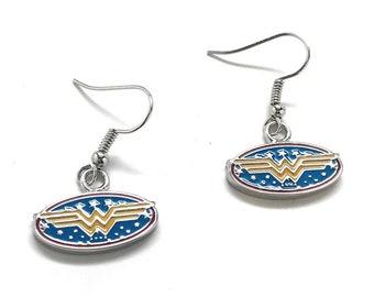 Wonder Woman Earrings Superhero Drop Dangle Women Earrings Jewelry