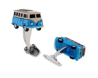 Volkswagen Bus Cufflinks, Blue VW Hippie Van