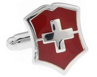 Swiss Red Cross Shield Cufflinks Silver Tone Red Enamel Cross Cuff Links