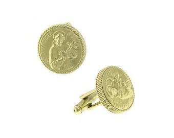 Gold St. Francis of Assisi Holding a Cross Round Cuff Links Religious Faith Cufflinks