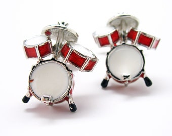 Drum Set  Cufflinks Ultimate Drummer Red and White Enamel Drums Bullet Post Cuff Links