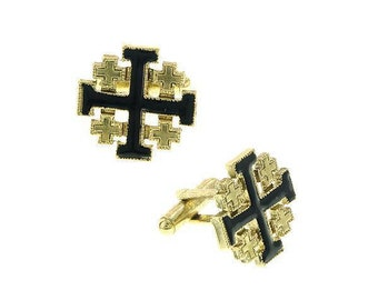 14K Gold Dipped Jerusalem Cross with Black Enamel Cufflinks Religious Collection Faith Cross Cuff Links