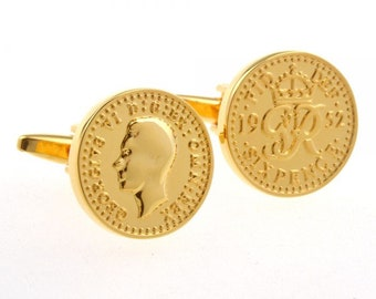Birth Year Birth Year Gold Plated Coins Financial Rich British Pence Replica Cufflinks Cuff Links