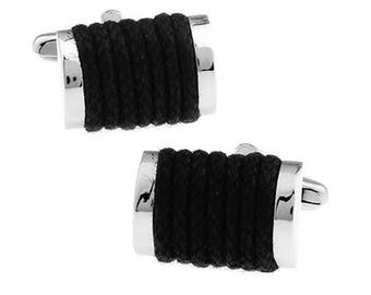 Black Rope Cufflinks Classic Cuffs Very Cool Fun Unique Cuff Links Comes with Gift Box