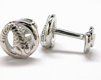 Lucky Coil Snake Cufflinks Silver Straight Post Double Ended Harry Potter Hogwarts Gryffindor Slytherin Ravenclaw Hufflepuff Deathly Hallows