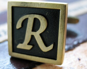 R Initial Cufflinks Antique Brass Square 3-D Letter Vintage English Lettering Cuff Links Groom Father Bride Wedding Anniversary Gift Box