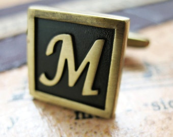 Initial M Cufflinks Letter M Cufflinks Antique Brass Cufflinks Monogram M Cuff Links Fathers Day Gift Gifts for Dad Husband Wedding Cuffs