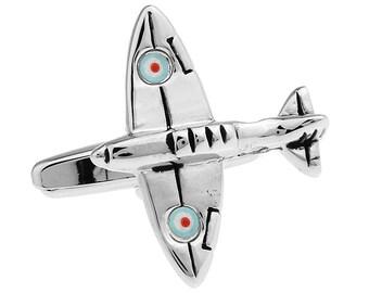 Silver Spitfire Cufflinks British Airplane Supermarine RAF Special Edition Squadron CuffLinks