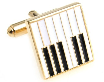Piano Keys Music Cufflinks Gold White and Black Enamel Keyboard Cuff Links Cool Concert Harmony Comes with Gift Box