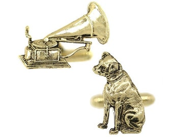 Gold Cufflinks Old TIme Antique Gold Tone Dog and Phonograph Record Player Cuff Links