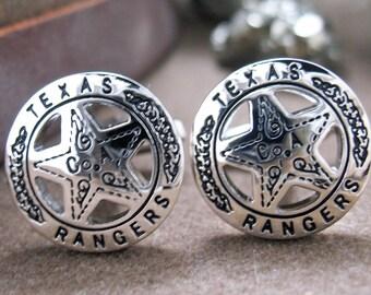 Texas Ranger Cufflinks Old West Silver Tone Lone Star Badge Lone Ranger Cuff Links