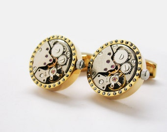 Gold Tone Crystal Watch Movement Studded Cufflinks Functional Cuff Links