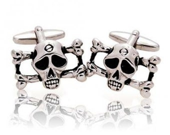 Pirate Cufflinks Skull & Bones Novelty Silver Skull Head Cufflinks Halloween Skull Nightmares Silver Toned Cuff Links