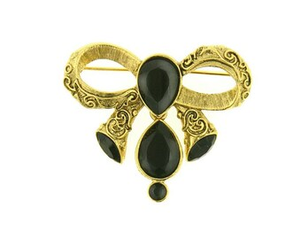 Shawl Pin, Antiquities Couture Gold Black Crystal Bow Pin