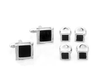 Silver Tone Square Black Enamel Cufflinks with Matching Shirt Studs Silver with Cuff Links Shirt Studs Comes with Gift Box