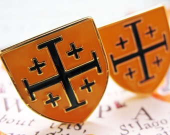 Crusader Shield Cufflinks Yellow and Black Enamel Jerusalem Holy Land Cross The Shield of Light Cuff Links Comes with Gift Box