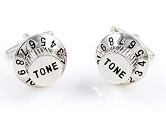 Tone Dial Cufflinks Unique Silver Volume Knob Crank it Up Tone Dial Cufflinks Cuff Links