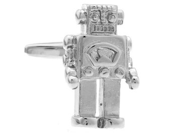 Retro 1950s Robot Cufflinks Silver Enamel Arms Head and Legs Cool Fun Unique Cuff Link Comes with Gift Box White Elephant Gifts