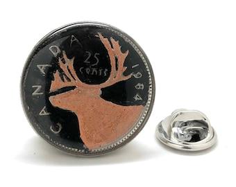 Enamel Pin Hand Painted Canada Twenty Five Cent Enamel Coin Collector Lapel Pin Canadian Pride Caribou Tie Tack Currency Black Copper Enamel