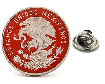 Enamel Pin Mexican Peso Coin Lapel Pin Tie Tack Collector Pin Red Silver Enamel Coin Travel Souvenir Art Mexico Hand Painted Authentic Coins