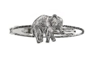 Antique Silver Tone Majestic Elephant Tie Bar Clip