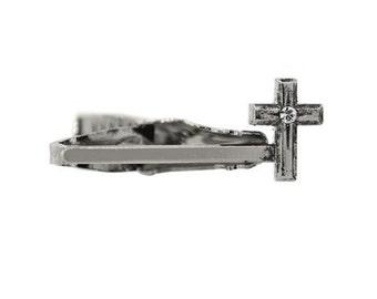 Cross Tie Bar Silver Tone Crystal Cross Faith Religious Tie Clip Bar