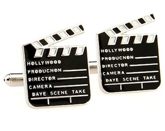 Movie Clapboard Cufflinks Silver Tone Classic Hollywood Old School Motion Pictures Buff Film Industry Classic Cuff Links Comes with Gift Box