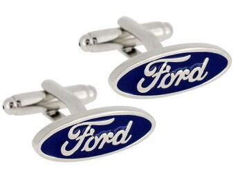 Ford Car Truck Logo Automobile Blue One of Kind Classic Cufflinks Cuff Links