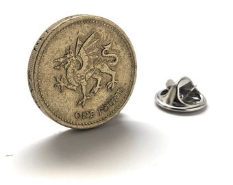 Great Britain Pounds Enamel Pin Dragon Crest British Shield Coin Birth Year Coins Jewelry Crown Queen Great Britain England UK Lapel Pin