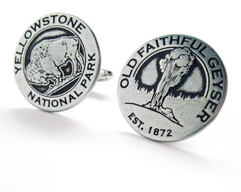 Yellowstone Buffalo and Old Faithful Token Cufflinks Silver Toned Classic Yellow Stone Park Transit Tokens Cuff Links Comes with Gift Box