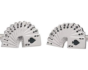 Las Vegas Playing Card Hand Cuff Links Casino Cards Cufflinks Gamblers Card Game Cuff Link Cuff Links