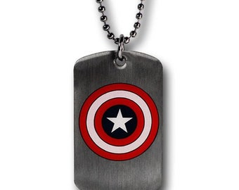 Dog Tag Marvel Comics Captain America Iconic Red White and Blue Shield Double Sided Dog Tag Necklace circa 1942 vintage jewelry