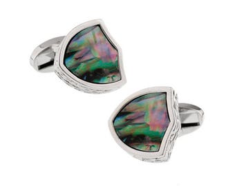 Abalone Shell Shield Cufflinks Thick Distinctive Look Real Shell Cool Mother of Pearl Cuff Links Comes with Gift Box
