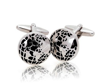 Silver Tone Cufflinks Black Enamel Globe See the World Traveler Cuff Links Comes with Gift Box