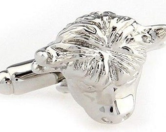 Silver Bull Head Cufflinks Matador Spain Bull Fighting Silver Tone 3-D Cuff Links