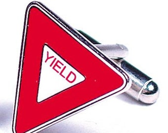 Yield Road Sign Cufflinks Transportation Cufflinks Cuff Links
