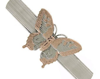 Glistening Butterfly Barrette Silver Blue with Rose Gold Elegant Hair Barrett Mothers Day Gift
