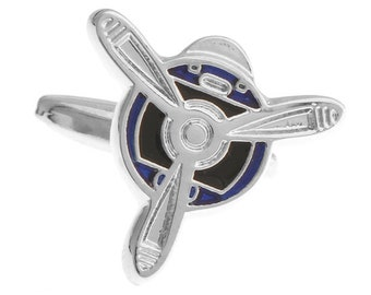 Transportation Collection Fly Away Blue Enamel Airplane Propeller Cuff Links Cufflinks