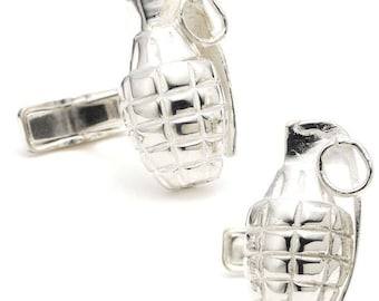 Hand Grenade Cufflinks 3D Army Silver with Pin Grenade Jewelry Cuff Links